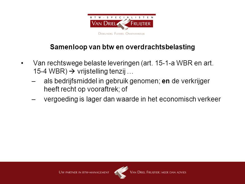 Samenloop van btw en overdrachtsbelasting Van rechtswege belaste leveringen (art.