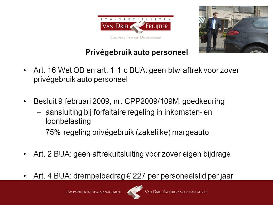 Privégebruik auto personeel Art.16 Wet OB en art.