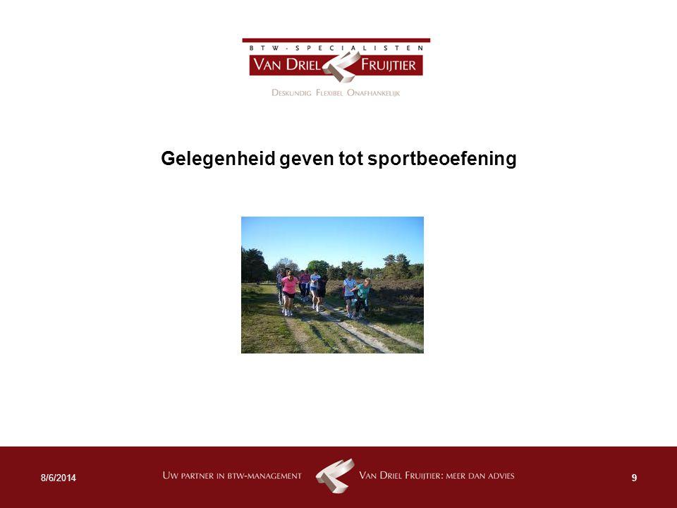 Gelegenheid geven tot sportbeoefening 98/6/2014