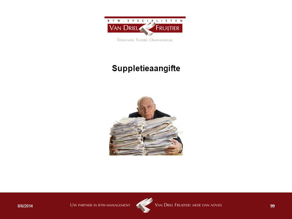 Suppletieaangifte 998/6/2014
