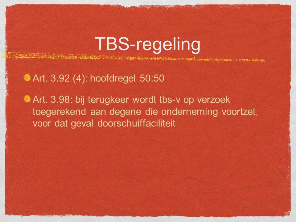 TBS-regeling Art.3.92 (4): hoofdregel 50:50 Art.