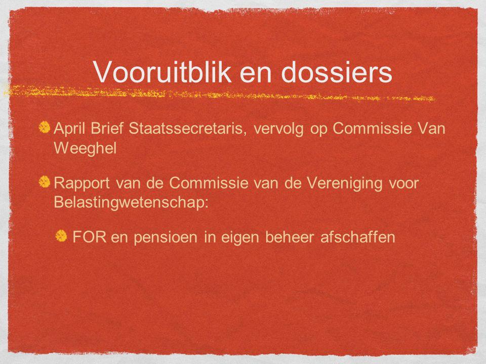 Vooruitblik en dossiers April Brief Staatssecretaris, vervolg op Commissie Van Weeghel Rapport van de Commissie van de Vereniging voor Belastingwetenschap: FOR en pensioen in eigen beheer afschaffen