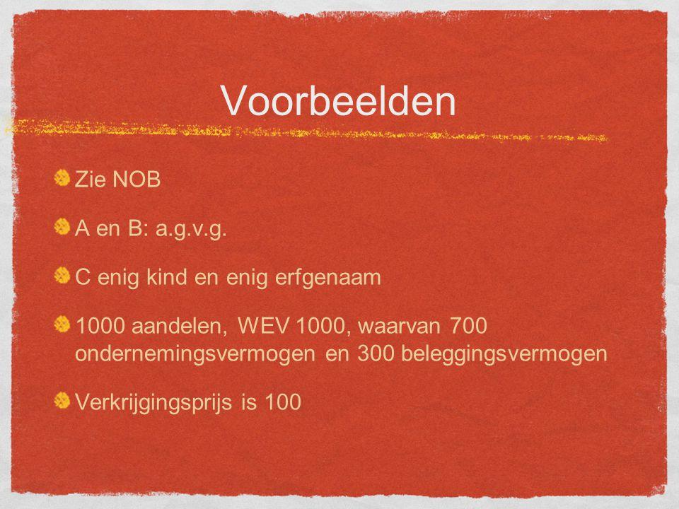 Voorbeelden Zie NOB A en B: a.g.v.g.