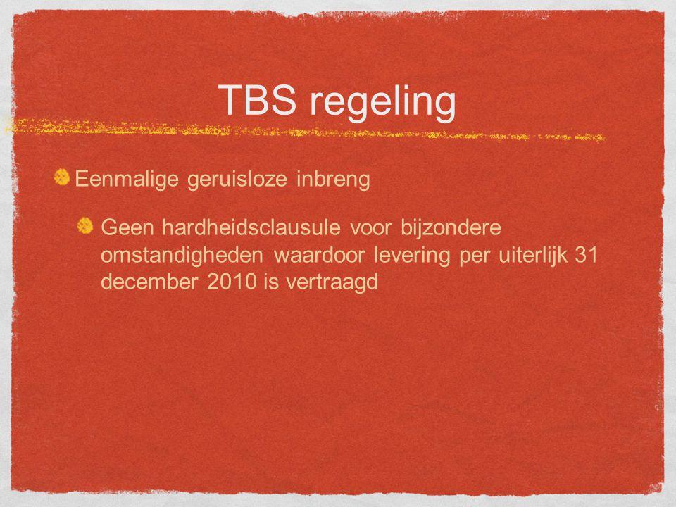 TBS regeling Eenmalige geruisloze inbreng Geen hardheidsclausule voor bijzondere omstandigheden waardoor levering per uiterlijk 31 december 2010 is vertraagd