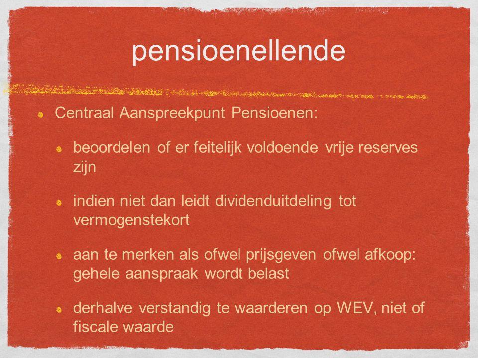 pensioenellende Centraal Aanspreekpunt Pensioenen: beoordelen of er feitelijk voldoende vrije reserves zijn indien niet dan leidt dividenduitdeling tot vermogenstekort aan te merken als ofwel prijsgeven ofwel afkoop: gehele aanspraak wordt belast derhalve verstandig te waarderen op WEV, niet of fiscale waarde