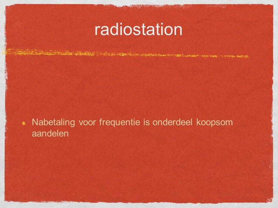 radiostation Nabetaling voor frequentie is onderdeel koopsom aandelen