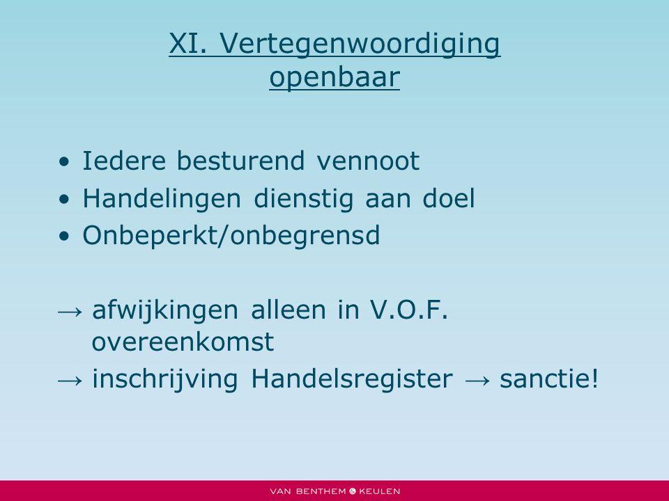 XI. Vertegenwoordiging openbaar Iedere besturend vennoot Handelingen dienstig aan doel Onbeperkt/onbegrensd → afwijkingen alleen in V.O.F. overeenkoms
