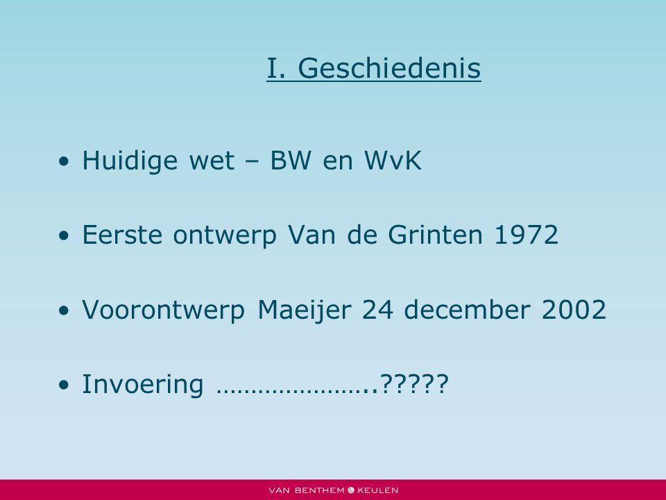 I. Geschiedenis Huidige wet – BW en WvK Eerste ontwerp Van de Grinten 1972 Voorontwerp Maeijer 24 december 2002 Invoering …………………..?????
