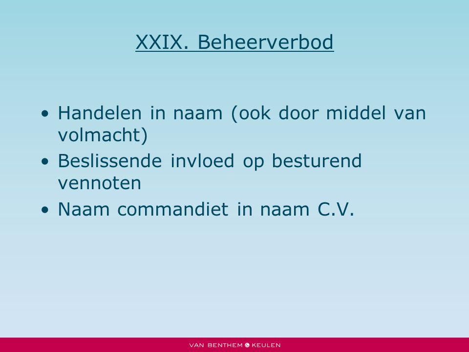 XXIX. Beheerverbod Handelen in naam (ook door middel van volmacht) Beslissende invloed op besturend vennoten Naam commandiet in naam C.V.