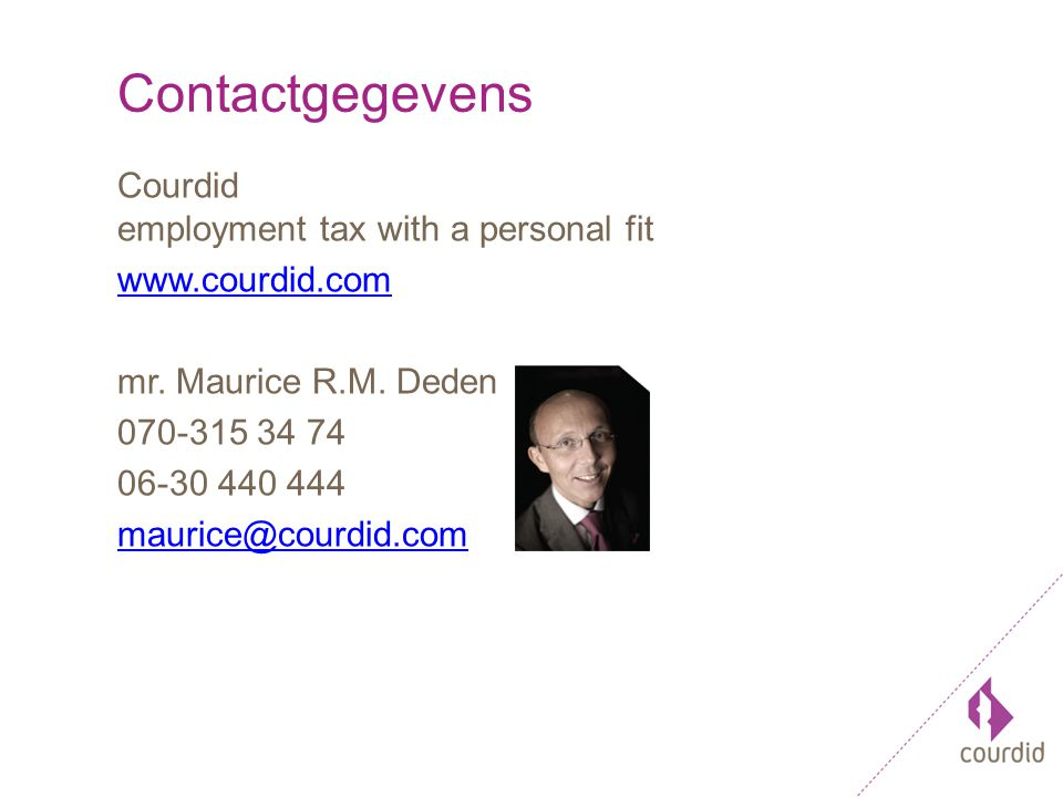 Contactgegevens Courdid employment tax with a personal fit www.courdid.com mr.