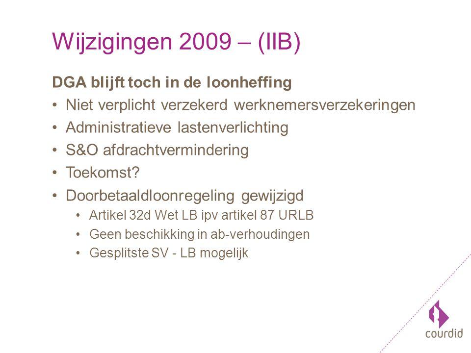 Wijzigingen 2009 – (IIB) DGA blijft toch in de loonheffing Niet verplicht verzekerd werknemersverzekeringen Administratieve lastenverlichting S&O afdrachtvermindering Toekomst.