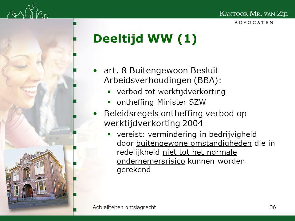 Deeltijd WW (1) art. 8 Buitengewoon Besluit Arbeidsverhoudingen (BBA):  verbod tot werktijdverkorting  ontheffing Minister SZW Beleidsregels ontheff