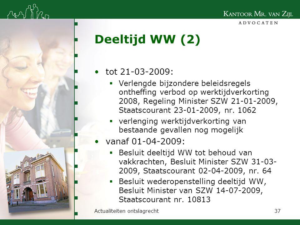Deeltijd WW (2) tot 21-03-2009:  Verlengde bijzondere beleidsregels ontheffing verbod op werktijdverkorting 2008, Regeling Minister SZW 21-01-2009, S