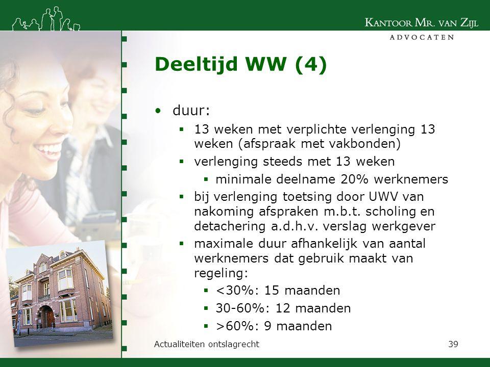 Deeltijd WW (4) duur:  13 weken met verplichte verlenging 13 weken (afspraak met vakbonden)  verlenging steeds met 13 weken  minimale deelname 20%