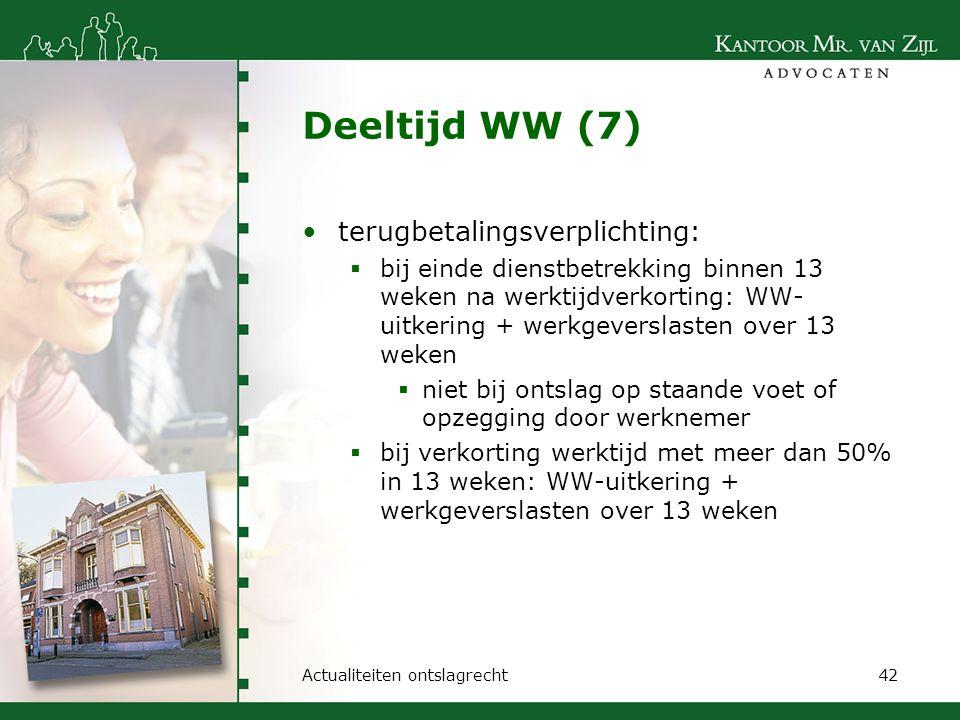 Deeltijd WW (7) terugbetalingsverplichting:  bij einde dienstbetrekking binnen 13 weken na werktijdverkorting: WW- uitkering + werkgeverslasten over