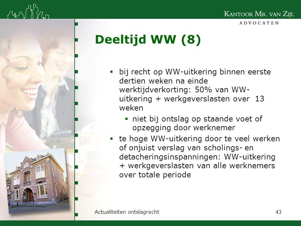 Deeltijd WW (8)  bij recht op WW-uitkering binnen eerste dertien weken na einde werktijdverkorting: 50% van WW- uitkering + werkgeverslasten over 13