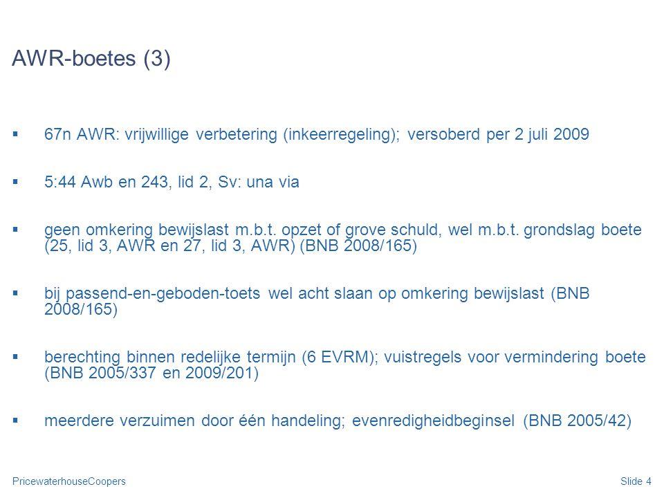 PricewaterhouseCoopersSlide 4 AWR-boetes (3)  67n AWR: vrijwillige verbetering (inkeerregeling); versoberd per 2 juli 2009  5:44 Awb en 243, lid 2,