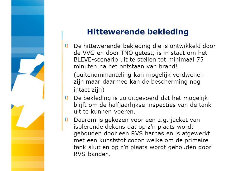 Hittewerende bekleding De hittewerende bekleding die is ontwikkeld door de VVG en door TNO getest, is in staat om het BLEVE-scenario uit te stellen to