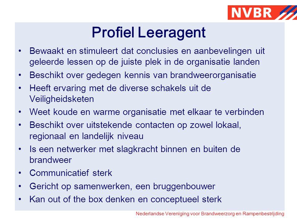 Nederlandse Vereniging voor Brandweerzorg en Rampenbestrijding Profiel Leeragent Bewaakt en stimuleert dat conclusies en aanbevelingen uit geleerde le