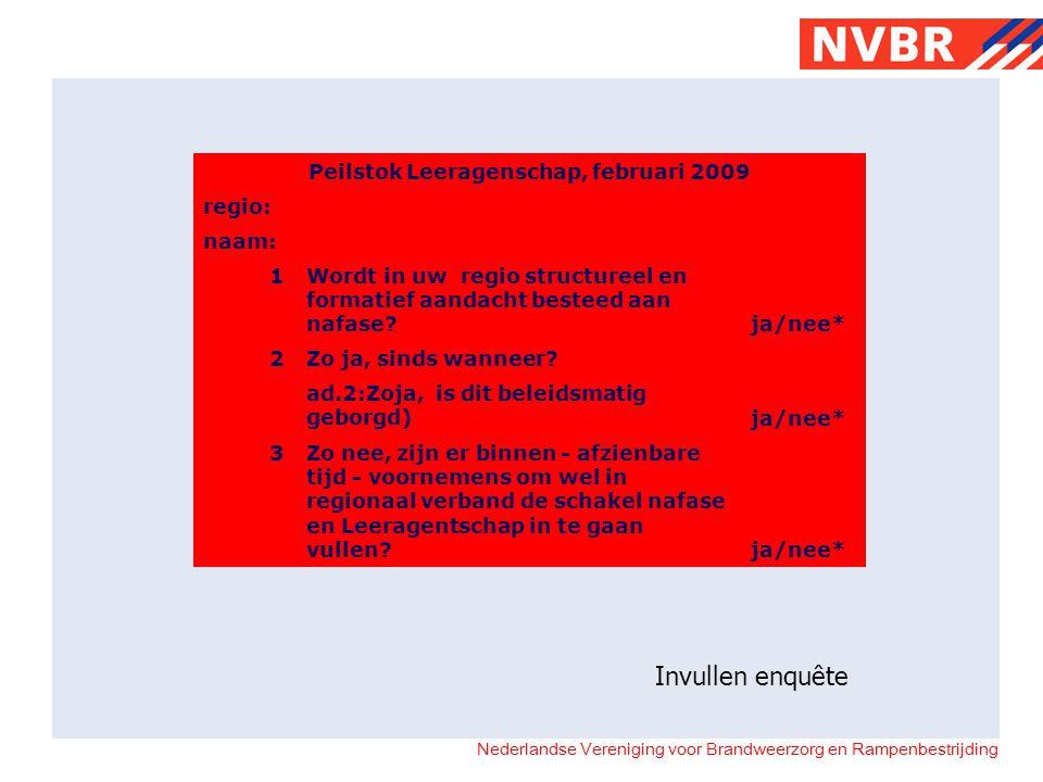 Nederlandse Vereniging voor Brandweerzorg en Rampenbestrijding Peilstok Leeragenschap, februari 2009 regio: naam: 1 Wordt in uw regio structureel en f