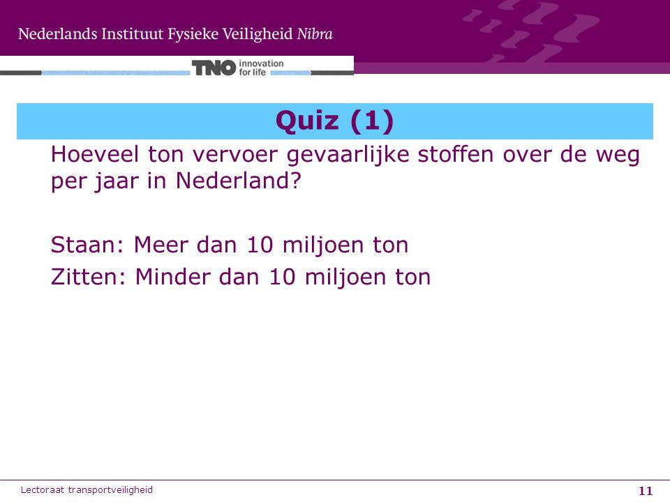 11 Quiz (1) Hoeveel ton vervoer gevaarlijke stoffen over de weg per jaar in Nederland? Staan: Meer dan 10 miljoen ton Zitten: Minder dan 10 miljoen to