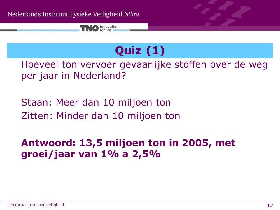 12 Quiz (1) Hoeveel ton vervoer gevaarlijke stoffen over de weg per jaar in Nederland? Staan: Meer dan 10 miljoen ton Zitten: Minder dan 10 miljoen to