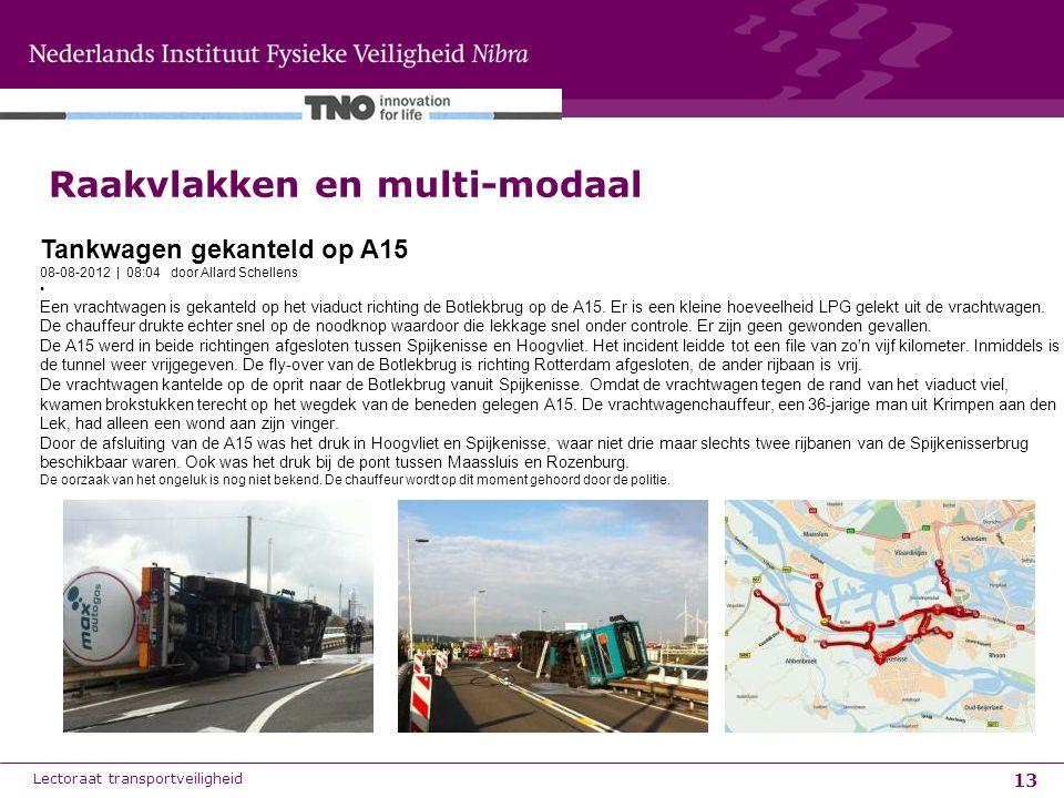 13 Raakvlakken en multi-modaal Lectoraat transportveiligheid Tankwagen gekanteld op A15 08-08-2012 | 08:04 door Allard Schellens Een vrachtwagen is ge