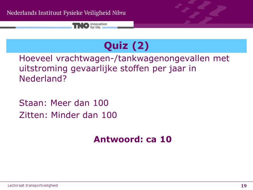 19 Quiz (2) Hoeveel vrachtwagen-/tankwagenongevallen met uitstroming gevaarlijke stoffen per jaar in Nederland? Staan: Meer dan 100 Zitten: Minder dan