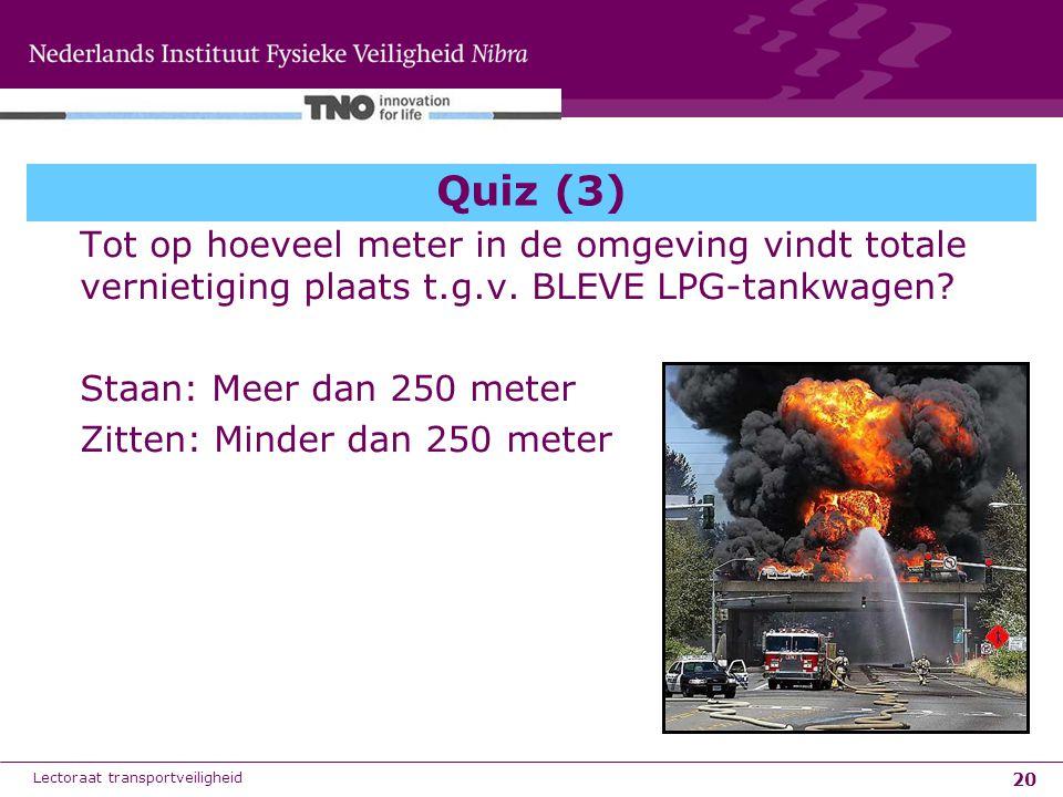 20 Quiz (3) Tot op hoeveel meter in de omgeving vindt totale vernietiging plaats t.g.v. BLEVE LPG-tankwagen? Staan: Meer dan 250 meter Zitten: Minder