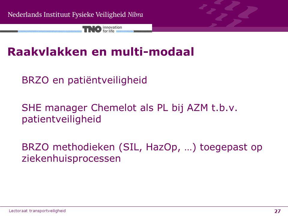 27 Raakvlakken en multi-modaal BRZO en patiëntveiligheid SHE manager Chemelot als PL bij AZM t.b.v. patientveiligheid BRZO methodieken (SIL, HazOp, …)