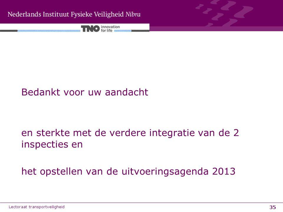 35 Bedankt voor uw aandacht en sterkte met de verdere integratie van de 2 inspecties en het opstellen van de uitvoeringsagenda 2013 Lectoraat transpor