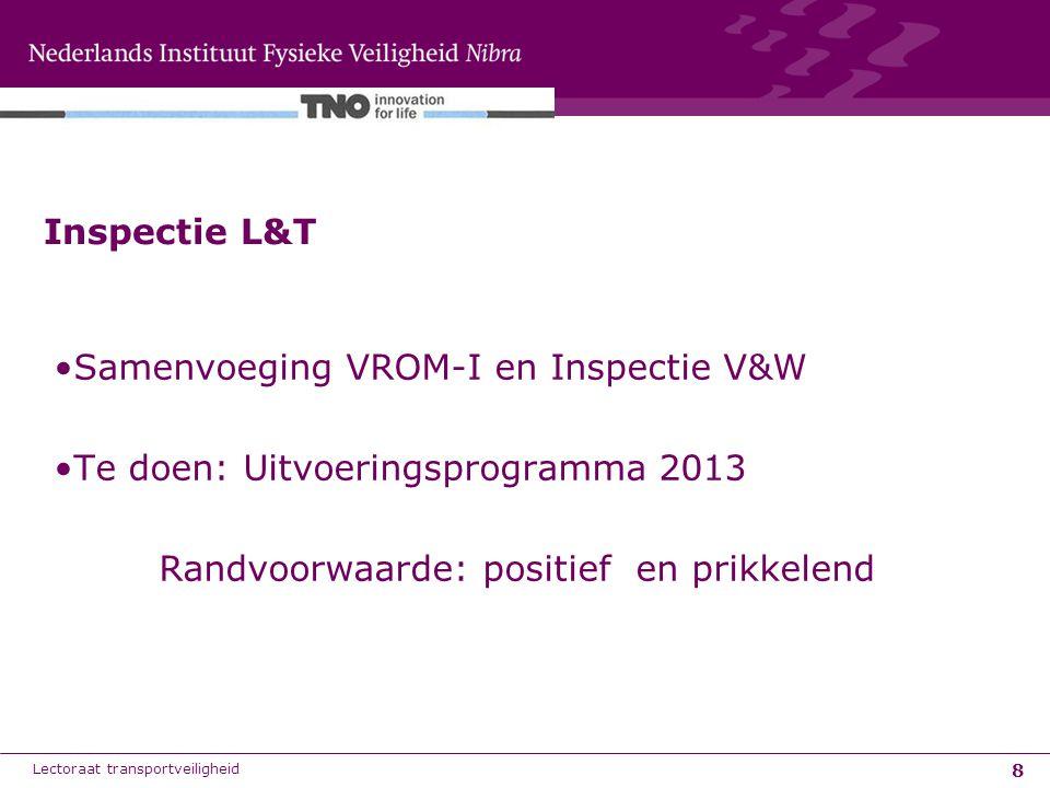 8 Samenvoeging VROM-I en Inspectie V&W Te doen: Uitvoeringsprogramma 2013 Randvoorwaarde: positief en prikkelend Inspectie L&T Lectoraat transportveil