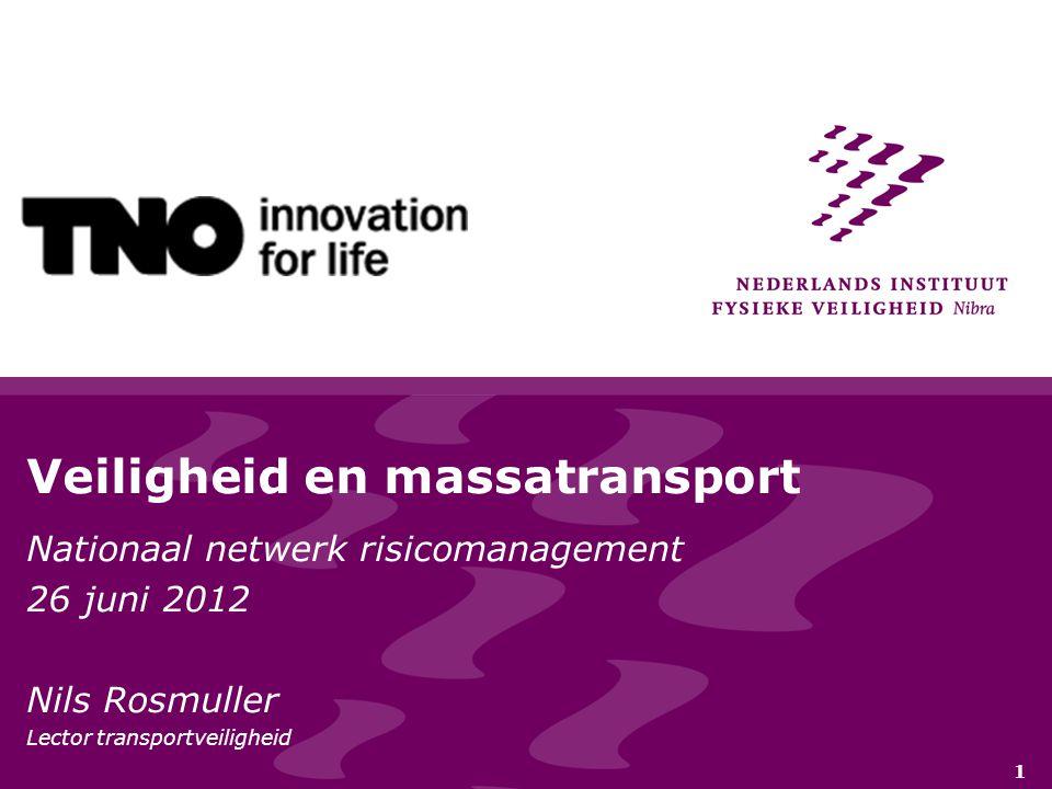 1 Veiligheid en massatransport Nationaal netwerk risicomanagement 26 juni 2012 Nils Rosmuller Lector transportveiligheid