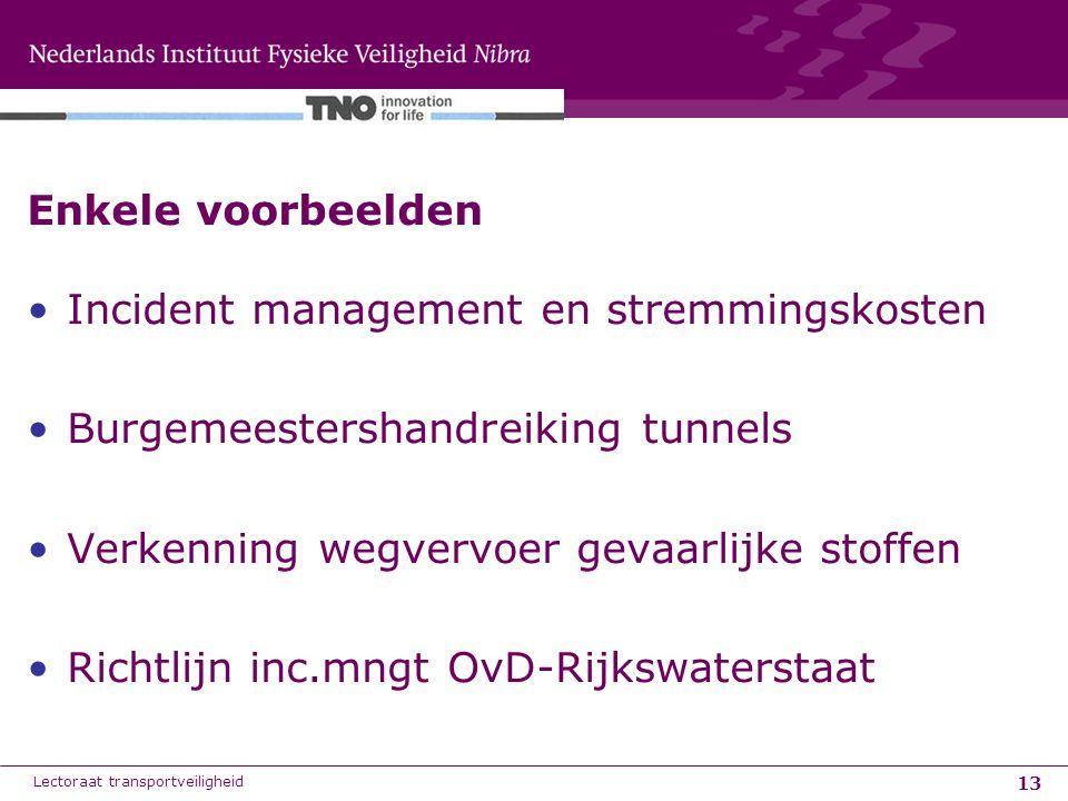 13 Enkele voorbeelden Incident management en stremmingskosten Burgemeestershandreiking tunnels Verkenning wegvervoer gevaarlijke stoffen Richtlijn inc.mngt OvD-Rijkswaterstaat Lectoraat transportveiligheid