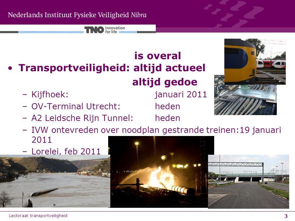 3 Transportveiligheid: altijd actueel altijd gedoe –Kijfhoek: januari 2011 –OV-Terminal Utrecht: heden –A2 Leidsche Rijn Tunnel: heden –IVW ontevreden over noodplan gestrande treinen:19 januari 2011 –Lorelei, feb 2011 is overal Lectoraat transportveiligheid