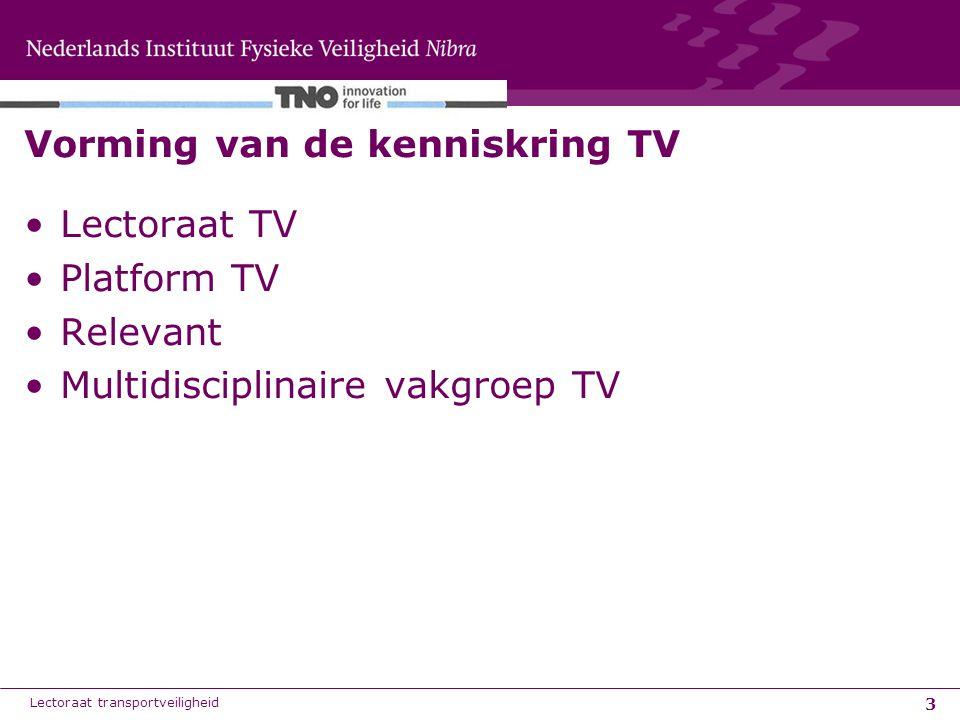 3 Vorming van de kenniskring TV Lectoraat TV Platform TV Relevant Multidisciplinaire vakgroep TV Lectoraat transportveiligheid