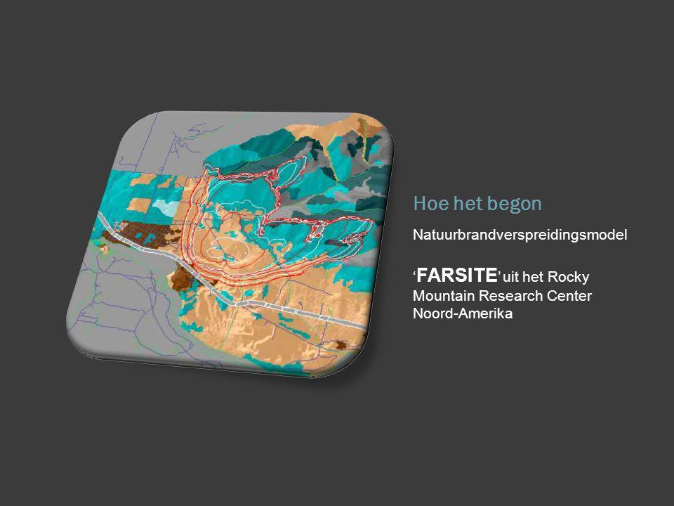 Hoe het begon Natuurbrandverspreidingsmodel ' FARSITE ' uit het Rocky Mountain Research Center Noord-Amerika