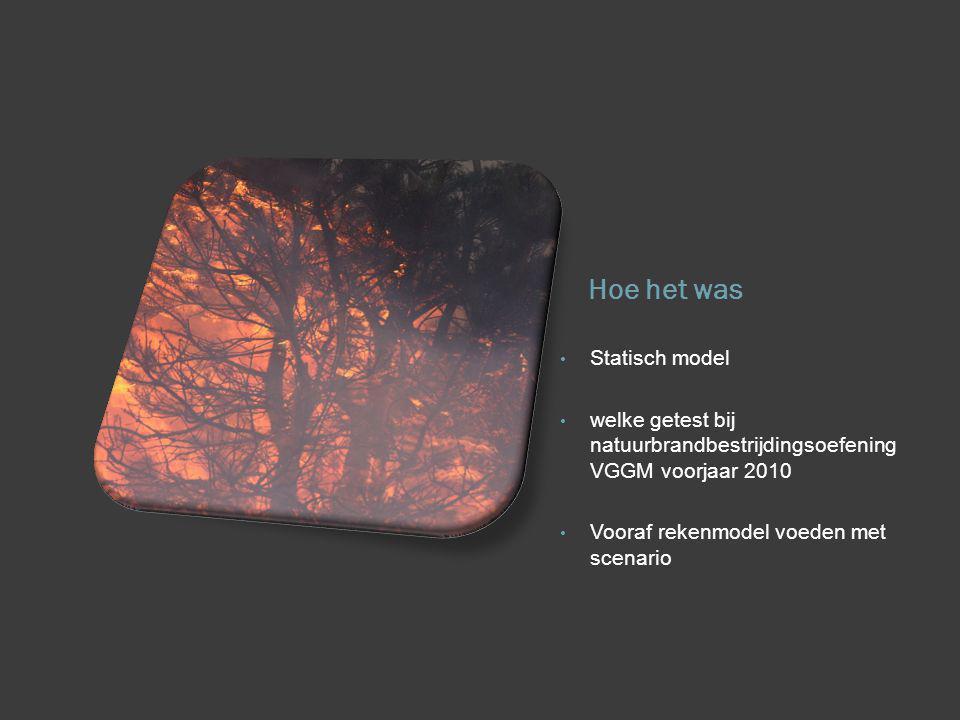 Hoe het was Statisch model welke getest bij natuurbrandbestrijdingsoefening VGGM voorjaar 2010 Vooraf rekenmodel voeden met scenario