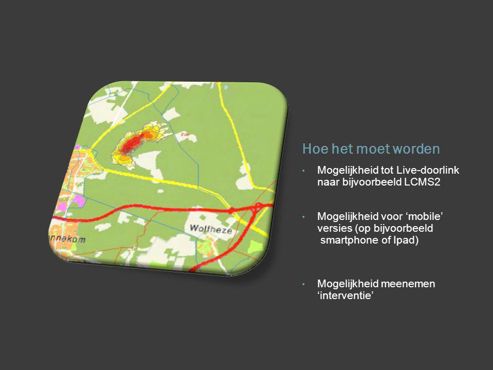 Hoe het moet worden Mogelijkheid tot Live-doorlink naar bijvoorbeeld LCMS2 Mogelijkheid voor 'mobile' versies (op bijvoorbeeld smartphone of Ipad) Mogelijkheid meenemen 'interventie'