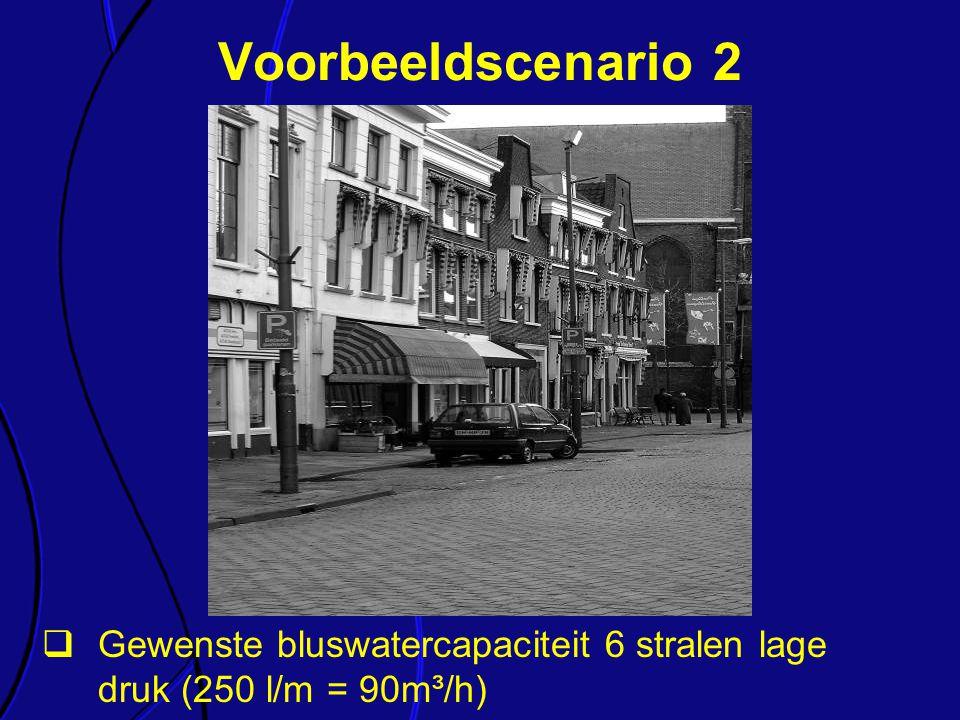  Gewenste bluswatercapaciteit 6 stralen lage druk (250 l/m = 90m³/h) Voorbeeldscenario 2