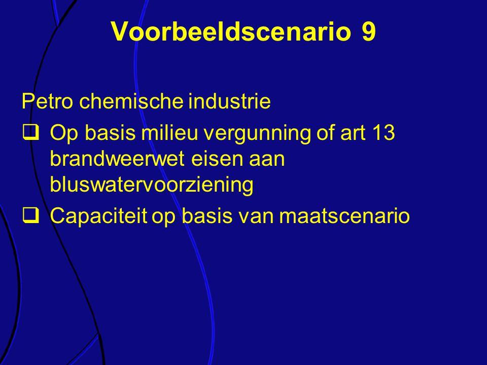 Petro chemische industrie  Op basis milieu vergunning of art 13 brandweerwet eisen aan bluswatervoorziening  Capaciteit op basis van maatscenario Vo