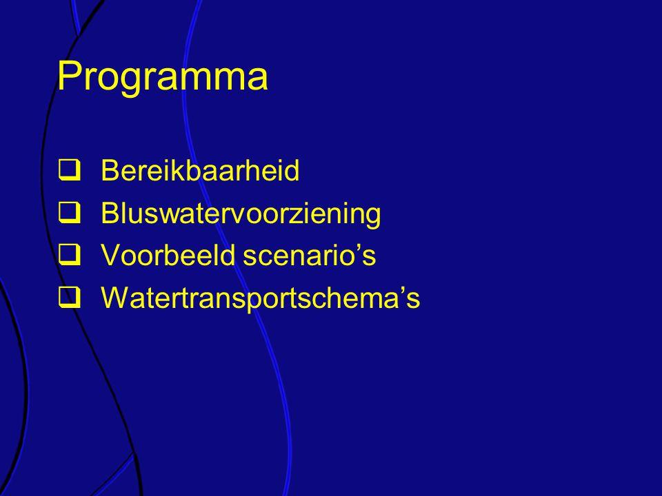 Programma  Bereikbaarheid  Bluswatervoorziening  Voorbeeld scenario's  Watertransportschema's