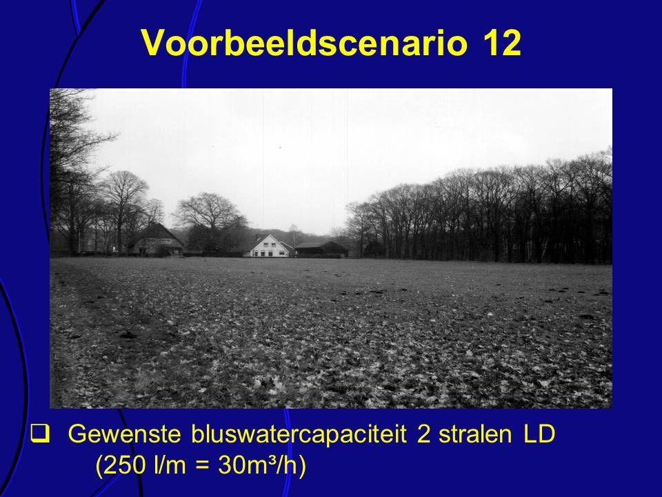  Gewenste bluswatercapaciteit 2 stralen LD (250 l/m = 30m³/h) Voorbeeldscenario 12