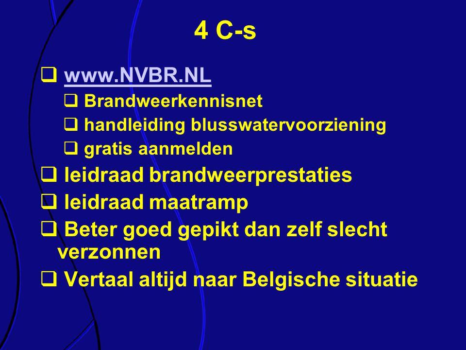 4 C-s  www.NVBR.NLwww.NVBR.NL  Brandweerkennisnet  handleiding blusswatervoorziening  gratis aanmelden  leidraad brandweerprestaties  leidraad m