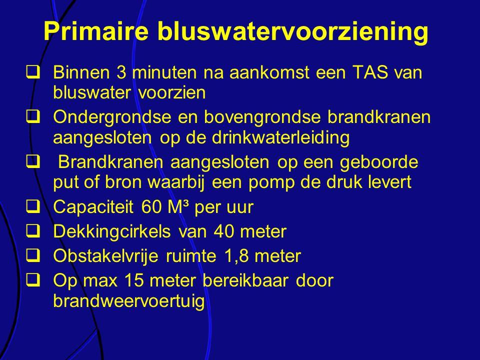  Binnen 3 minuten na aankomst een TAS van bluswater voorzien  Ondergrondse en bovengrondse brandkranen aangesloten op de drinkwaterleiding  Brandkr
