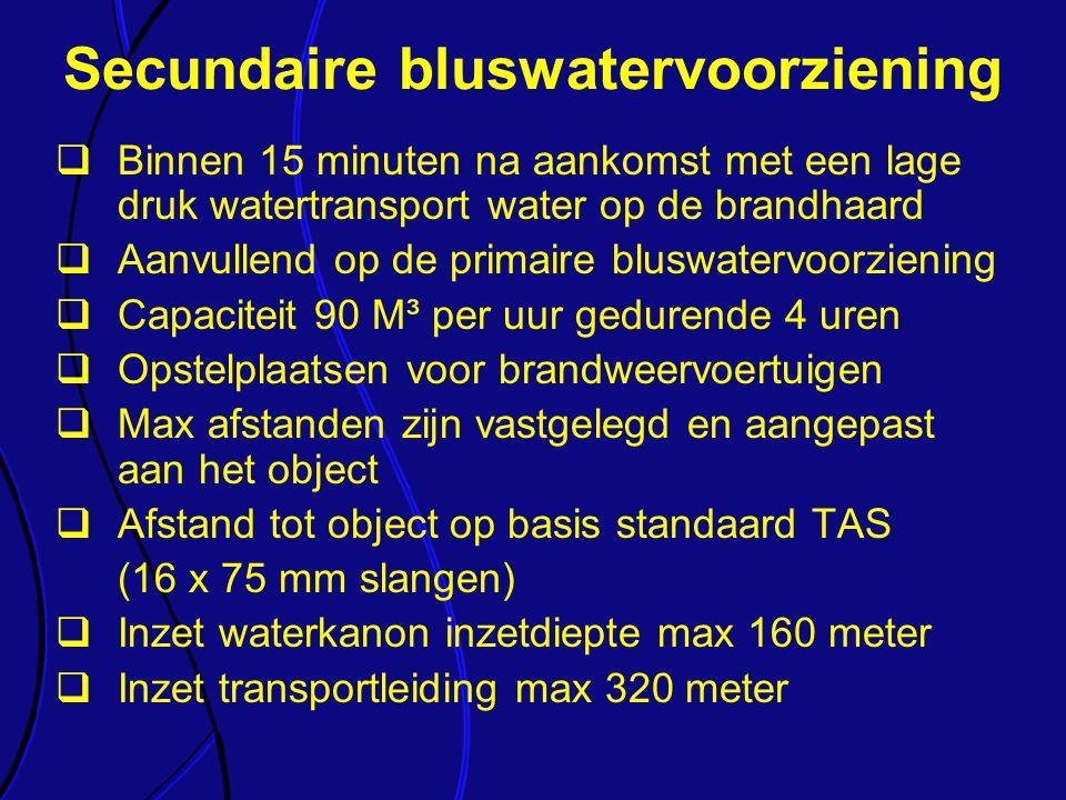  Binnen 15 minuten na aankomst met een lage druk watertransport water op de brandhaard  Aanvullend op de primaire bluswatervoorziening  Capaciteit