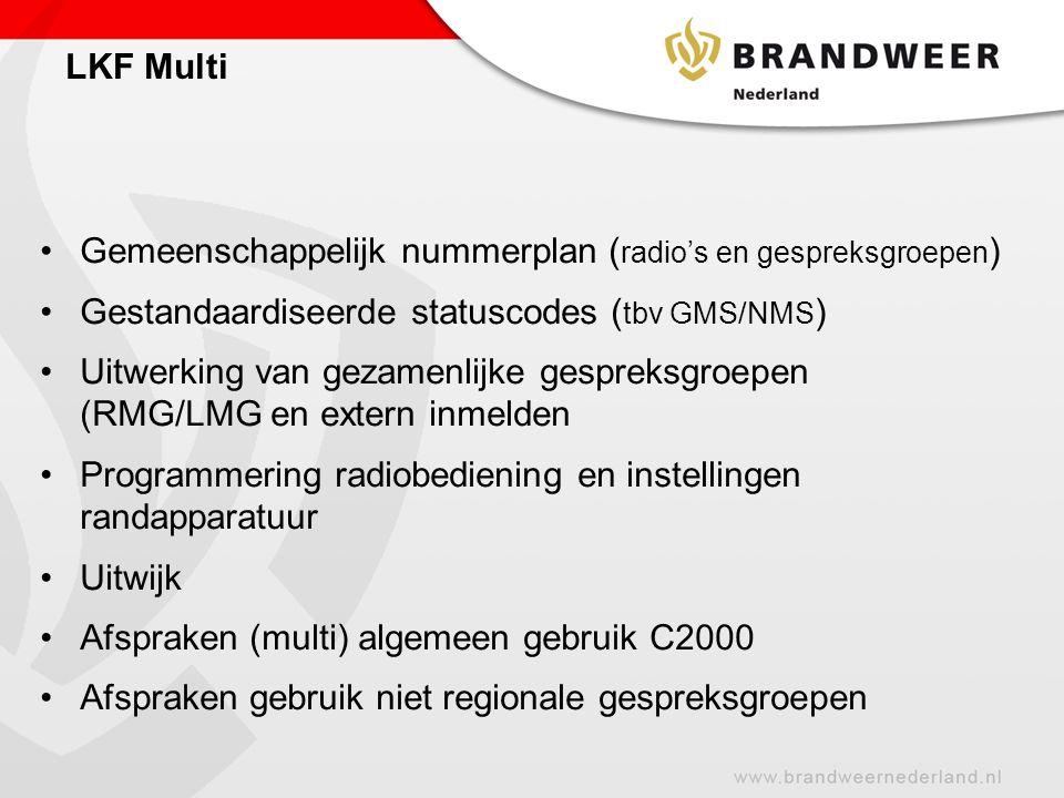 Gemeenschappelijk nummerplan ( radio's en gespreksgroepen ) Gestandaardiseerde statuscodes ( tbv GMS/NMS ) Uitwerking van gezamenlijke gespreksgroepen