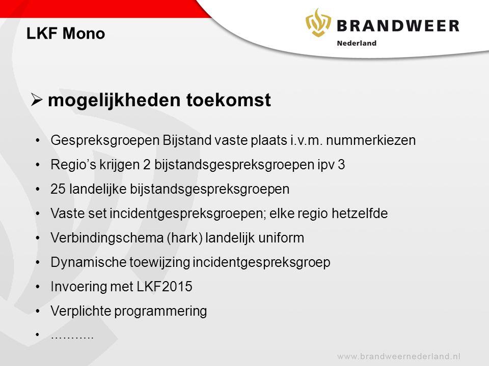  mogelijkheden toekomst LKF Mono Gespreksgroepen Bijstand vaste plaats i.v.m. nummerkiezen Regio's krijgen 2 bijstandsgespreksgroepen ipv 3 25 landel