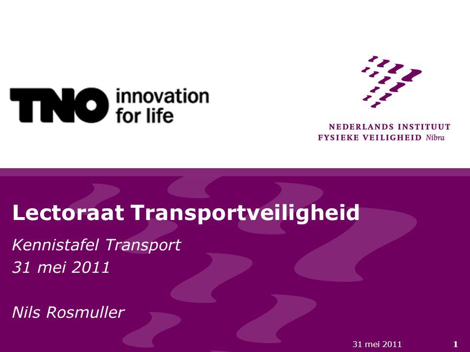 31 mei 20111 Lectoraat Transportveiligheid Kennistafel Transport 31 mei 2011 Nils Rosmuller