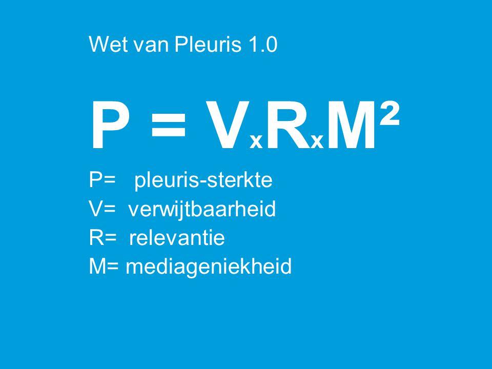 P = V x R x M² P= pleuris-sterkte V= verwijtbaarheid R= relevantie M= mediageniekheid Wet van Pleuris 1.0